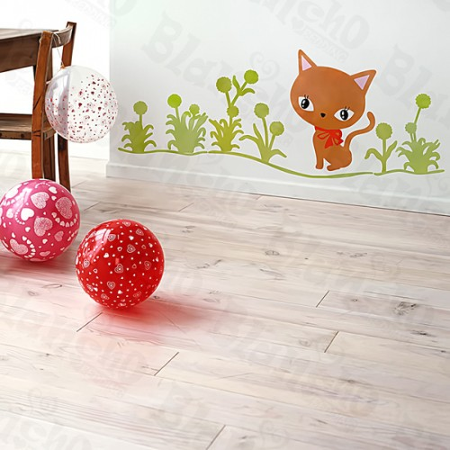 Cat Grass - Large Wall Decals Stickers Appliques Home Décor