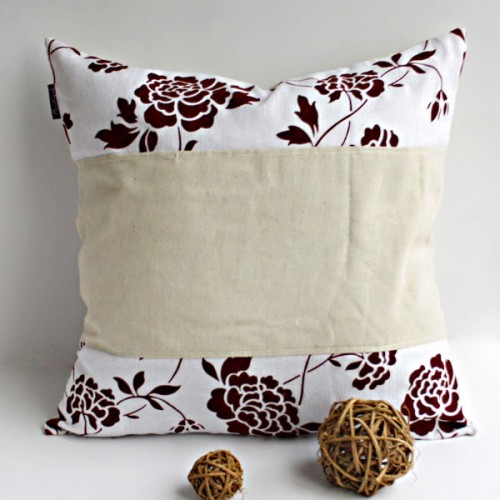 Onitiva - [Floral Ocean] Linen Stylish Patch Work Pillow Cushion Floor Cushion (19.7 by 19.7 inches)